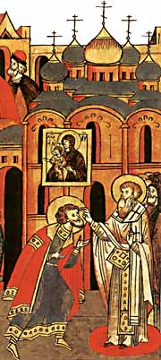 Благословение князя Александра епископом Спиридоном. Миниатюра Лицевого летописного свода XVI в.