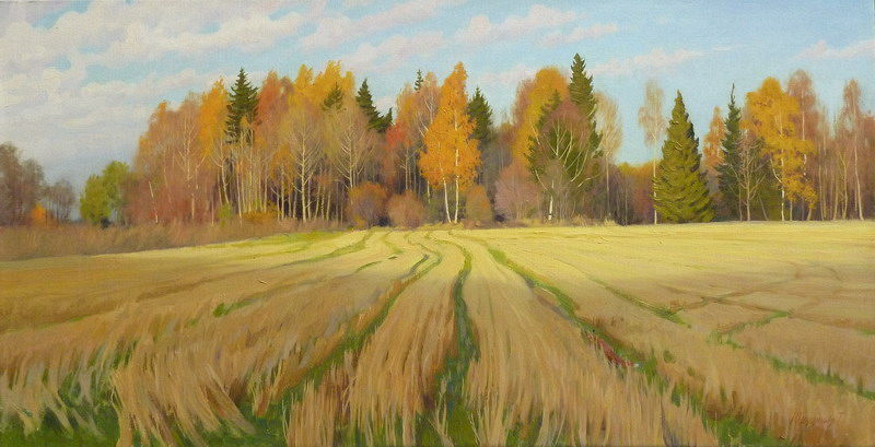 Татьяна Юшманова. Бегут облака. 2009 г. Холст, масло. 32,5х62,5 см