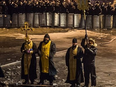 """Orthodoxy in the Ukraine"" published this interview with the monks from Desyatina Monastery in Kiev, who stood between the police and the protesters in late January, stopping the violence for at least a few days through their prayer and example."