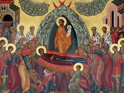 "Why should we rejoice on this day of the Dormition of the Mother of God? Because the word ""dormition"" alone shows that the death of the Mother of God was unusual. It was sleep, which was soon followed by joyful wakening."