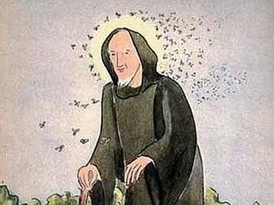 Before he had sailed three miles he suddenly saw a small black cloud that was swiftly approaching from the Welsh coast. Soon the cloud drew near and the holy man to his great astonishment realized that these were the bees from all the beehives of the