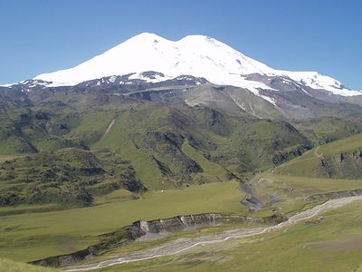 """Mt. Elbrus is crowned by two summits, one of which slightly dominates the other one, and it reminds us that a husband is the head of a wife. The indissolubility and stability of marriage is symbolized by the uniting of these two summits under the sk"