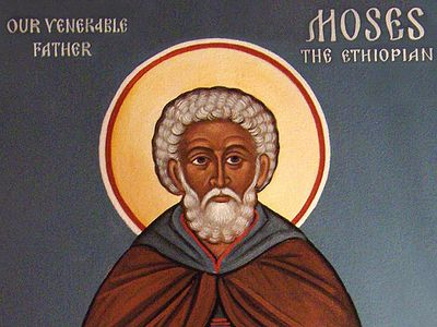 "St. Moses' strict fasting and obedience and his compassion were his cross that he took up to follow Christ, ""being glorified in godly works."" Even in his advanced spiritual state he remained profoundly humble, combining the righteousness of the Phari"