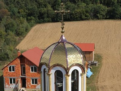 The Church of St. Porphyrios of Kavsokalyvia was built over a short span of time by the efforts of the convent's mother-superior – Abbess Barbara (Pop), along with the convent's benefactors: the Livch and Mandzyuk families.