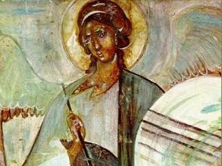 Архангел Гавриил. Фреска в притворе церкви Успения на Волотовом поле. Фото: Портал