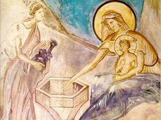 Омовение младенца. Фреска на южной стене церкви. Фото: Портал
