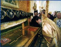 У святых мощей блаженного Павла. Фото сайта Таганрогского благочиния Ростовской епархии