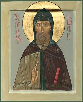 Преподобный Варлаам Чикойский. Первая из новонаписанных икон святого