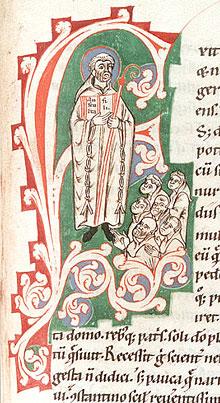Св. Бенедикт Нурсийский поучает монахов. Средневековый манускрипт