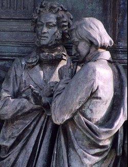 Пушкин и Гоголь, фрагмент памятника 1000-летие России