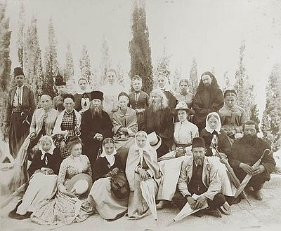 Fr. Antonin with pilgrims, in the last years of his life.