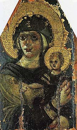 3. Богоматерь с Младенцем. Византия. VI век. Икона написана в доиконоборческую эпоху