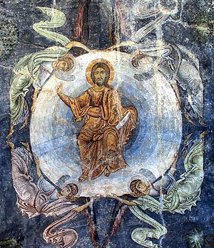 The Lord's Ascension. Mid 11th century. Fresco of the St. Sophia Church in Ohrid.