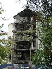 Разбомбленный телецентр в Белграде