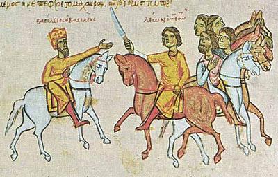 Василий I (слева) и его сын Лев VI Мудрый. Миниатюра из хроники Иоанна Скилицы