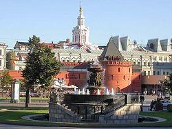 Вид на Китай-город и Заиконоспасский монастырь со стороны Театральной площади