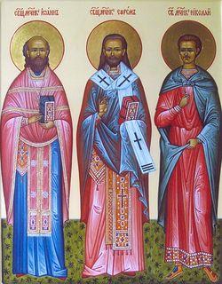 Икона святых новомучеников Ефрема Селенгинского, Иоанна Восторгова и Николая Варжанского