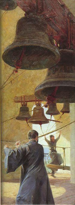 Фрагмент картины В.Г. Никонова «Звонница». Холст, масло. Б.г.