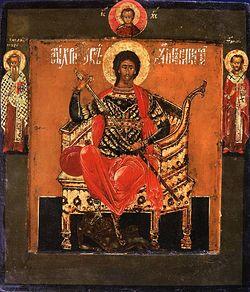 Загрузить увеличенное изображение. 950 x 1080 px. Размер файла 206364 b.  Святой великомученик Никита на престоле, со святыми на полях. XVII в.
