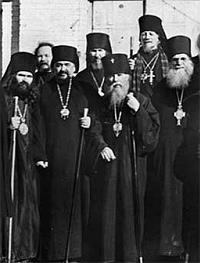 епископ Иоанн, архиепископ Нестор (Анисимов) Камчатский и архиепископ Мелетий Харбинский. Харбин. 1935 г.