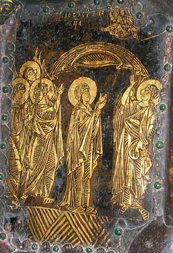 Загрузить увеличенное изображение. 350 x 514 px. Размер файла 91167 b.  Пластина церковных врат Рождественского собора в Суздале. Начало XIII в.