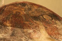 Загрузить увеличенное изображение. 800 x 533 px. Размер файла 682904 b.  Благовещение Пресвятой Богородицы. Фреска в западной части храма Марии Монгольской. Фото автора