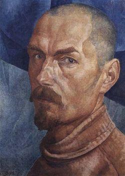 Загрузить увеличенное изображение. 391 x 550 px. Размер файла 28993 b.  Петров-Водкин К.С. Автопортрет. 1918г.