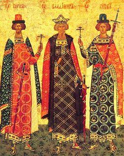 Равноапостольный князь Владимир со святыми Борисом и Глебом. Новгородская таблетка