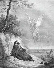Ангел приности пищу пророку Илии. Иллюстрация Доре
