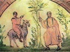 Валаам и Ангел, преграждающий ему дорогу. Фреска 4 века. Рим. Катакомбы на Виа Латина.