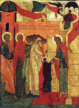 Entry in the Temple. Icon fragment, 16th century.