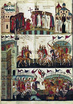Икона «Битва новгородцев с суздальцами». XV в.