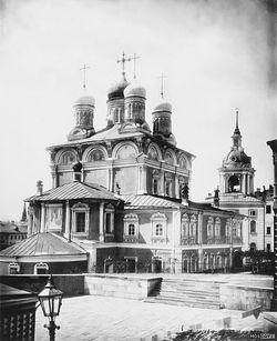 Знаменский монастырь, третьеклассный мужской, на Варварской улице. Фото 1882 г.
