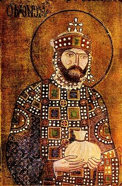 Константин IX Мономах. Мозаика св.Софии в Константинополе