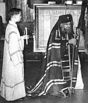 St. John of Shanghai and San Francisco giving a sermon. Pavel Lukianov, the author, is the acolyte.