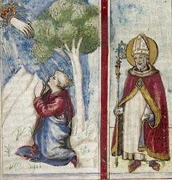 """Августин Аврелий. Миниатюра из сборника, включающего """"Исповедь"""" и другие работы. Флоренция 1456-80"""