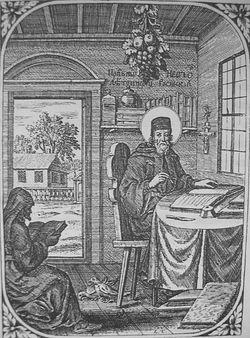 "Преп. Нестор Летописец. Гравюра из ""Патерика"" 1702 г."