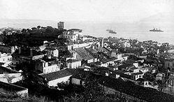 Загрузить увеличенное изображение. 524 x 332 px. Размер файла 84674 b.  Панорама Мессины со стоящими на рейде русскими кораблями
