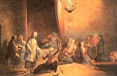 Опиумный притон XVIII в. в Китае
