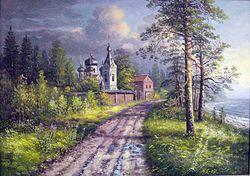 Картина Александра Ямполя. <br>Остров Коневец. Коневецкий Скит.