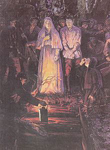 """""""Перед казнью. Великая княгиня Елизавета Федоровна, инокиня Варвара, члены императорской фамилии. Алапаевск, 1918 г."""""""