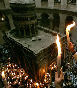 The Holy Edicule after the descent of the Holy Fire