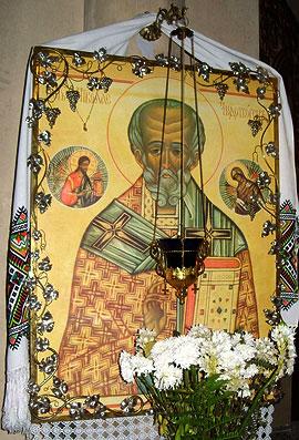 Мироточивая икона святителя Николая. Храм Рождества Христова в Антверпене