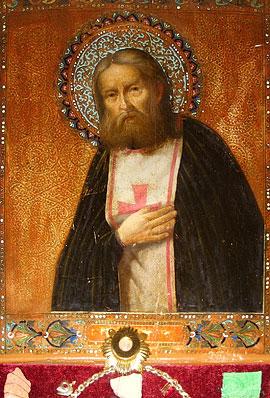 Икона преп. Серафима Саровского с частицей мощей святого. Храм Рождества Христова в Антверпене