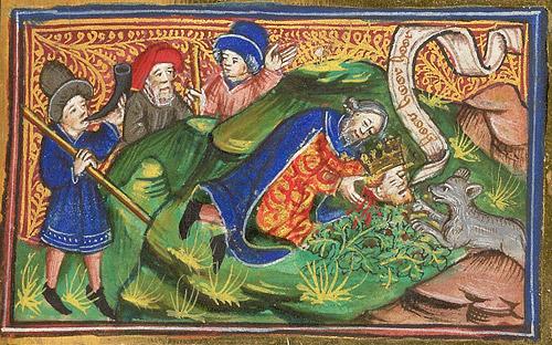 Нахождение головы св. мученика Эдуарда. Миниатюра из манускрипта «Жития святых Едмунда и Фремунда» (2-я п. XV в.). Британская библиотека