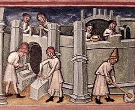 Строительство монастыря Бери-Сент-Эдмундс. Миниатюра из манускрипта «Жития святых Едмунда и Фремунда» (2-я п. XV в.). Британская Библиотека