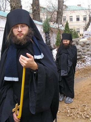 After taking monastic vows. Monk Nicholas in the background; Monk (now Hierodeacon) Seraphim in the foreground