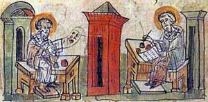 Кирилл и Мефодий - миниатюра из Радзивилловской летописи (XIII в.)