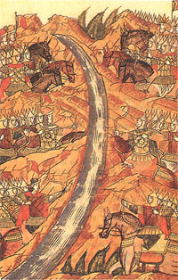 Stand on the Ugra River. Chronicle miniature. 14th century.