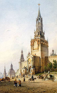 Weiss. The Spassky Gates of the Moscow Kremlin. 1852.
